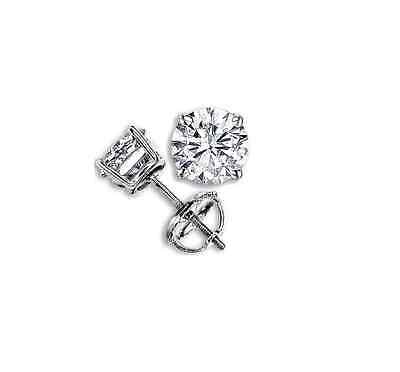 1/4 Ct Certified Round Diamond Solitaire Stud Earrings 14k White Gold