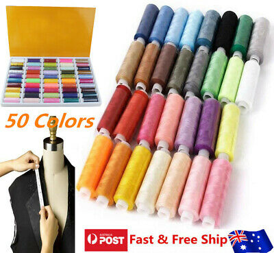 50 Colors Roll Polyester Sewing Thread Box Kit Set For Home DIY Sewing Machine