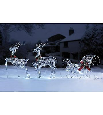 Set Of 2 Reindeers With Sleigh Set In Gold or Silver Christmas Outdoor Lights
