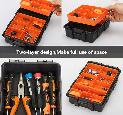 New Plastic Heavy-duty Tool Storage Box Two-layer Organizer Small Parts Tool Box