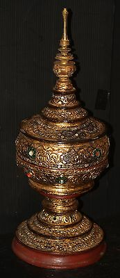 LACQUERWARE Burma offering temple alter bowl container OLD VINTAGE GOLD & MIRROR