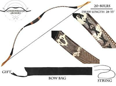 20lb-60lb-110lb Real snakeskin Longbow Recurve Bow for Archery shooting/hunting