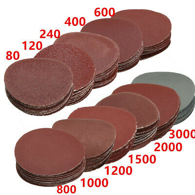 "2""/3""/5"" Sanding Discs Sandpaper Nonporous Round Polishing Pad Mix Grit Set"