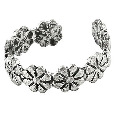 SY 1pc Retro Flower Pattern Adjustable Toe Ring Foot Jewellery Antique Silver