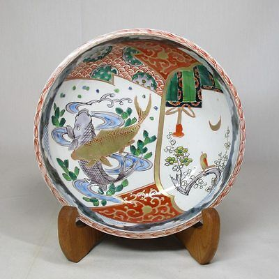 A407: Japanese OLD IMARI colored porcelain bowl with good carp painting. S