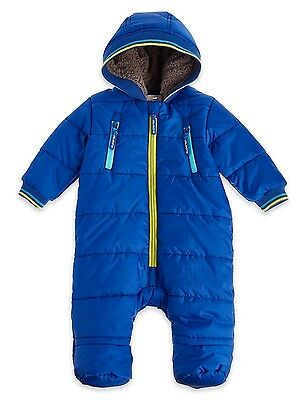 Baby M&S Boys Soft Hooded Stormwear Superior Blue Snowsuit Winter 3 - 12 Months