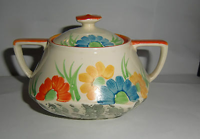 Crown Ducal: Lidded Hand Painted Sugar Bowl - 1930s Art Deco