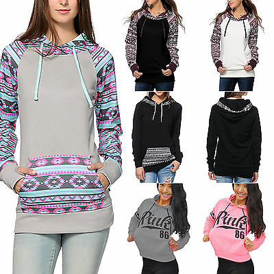 Womens Casual Long Sleeve Hoodies Jumper Tops Sweatshirt Pullover Hooded Sweater