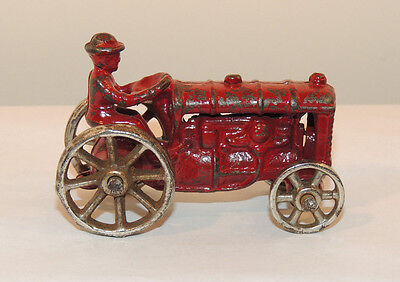 Cast Iron Early Toy Tractor  1930s? 3 inches long (12536)