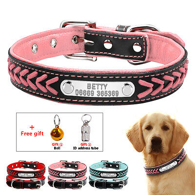 Padded Braided Personalised Pet Dog Collars Free Bell & ID Address Tube XS S M L