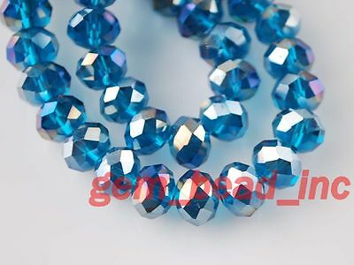 50Pcs Peacock Blue AB Crystal Glass Faceted Rondelle Bead 8mm Spacer Findings
