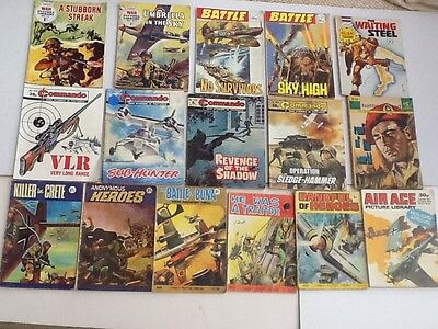 JOB LOT 16 Vintage Commando Battle Combat Valiant War Picture Library Magazines