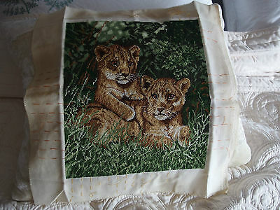 vintage Hand Stitched  tapestry Lion Cubs cushion front picture