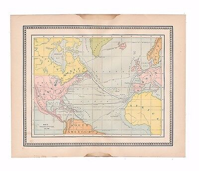 Original antique color map of early explorer's routes from 1887 encyclopedia