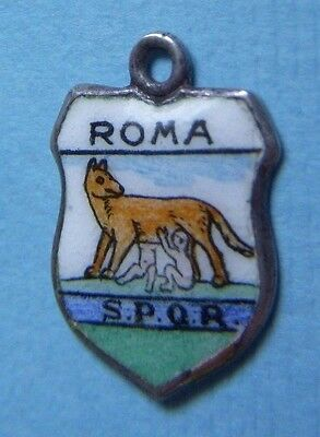 Vintage Roma Rome Italy Romulus Remus Italy shield silver charm