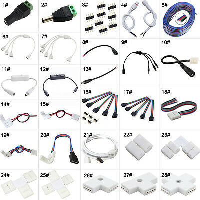 3528✔5050✔5630✔RGB LED Strip Light Connector Cable PCB Clip Solderless Adapter