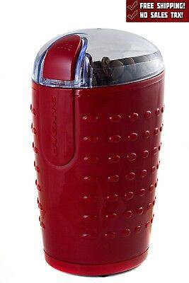 Electric Herb Coffee Grinder Stainless Steel Blades Spices Nuts Ovente Red New