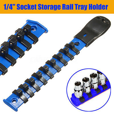 1/4'' Drive Socket Rack Storage Rail Tray Holder W/ 9 Socket Clips ABS Mountable