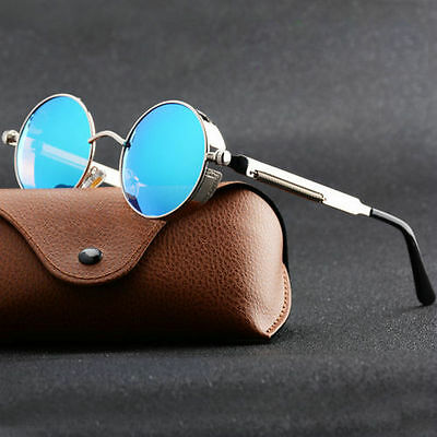 Vintage Polarized Steampunk Round Sunglasses Mirrored Retro Eyewear Round Pop AU