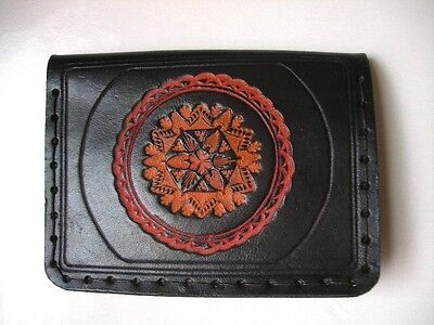 Vintage Thick Black Real Leather+Tooled Leather Design,Wallet+Coin/Change Purse