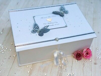 Wedding Keepsake Memory Box Personalised Engagement Silver Luxury Extra Large
