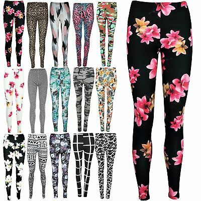 Womens Floral All Over Printed Full Ankle Length Skinny Stretchy Ladies Leggings