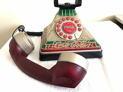 COCA COLA  COKE LIGHTED STAINED GLASS STYLE TELEPHONE  ART DECO, Collectable