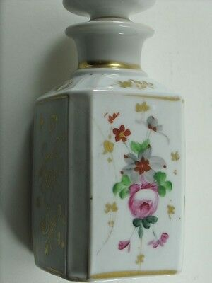 Antique Gilded Hand Painted Roses French Porcelain Perfume Scent Dresser Bottle