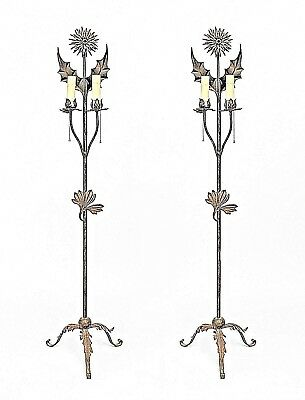 Pair of English Aesthetic Movement Wrought Iron 2 Light Floor Torchieres