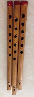 Wooden Flute Instrument Set of 3 -RARE Collectible