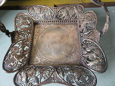 Antique Silverplate Pairpoint Brids and Flowers Basket Centerpiece