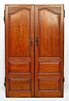Pair of French Provincial (18th Cent) Walnut Doors with 2 Small Panels