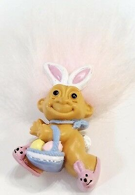 RUSS EASTER Pin Troll in Bunny Ears w Egg Basket Vintage Doll Brooch