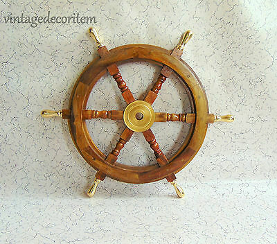 "24"" inch Nautical Marine Wooden Steering Ship Wheel ~ Nautical Wall Decor"