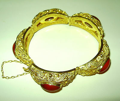 Intricate Chinese Filigree Bracelet-Gold Over Sterling Paneled-Carnelian Caboc