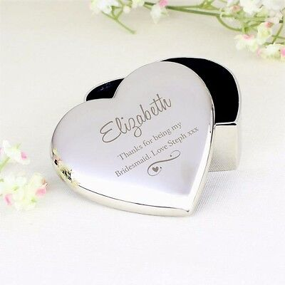 Personalised Swirls Heart Trinket Box Jewellery Storage Wedding Birthday Gift UK