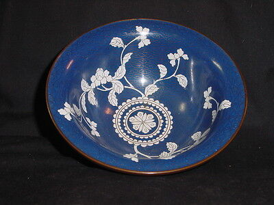 Beautiful Vintage Blue and White Lotus Flower Chinese Cloisonne Bowl