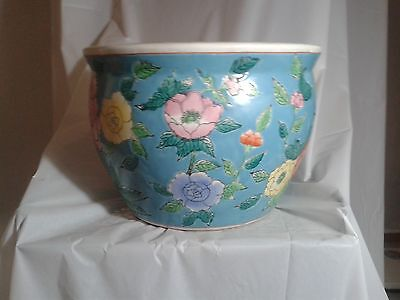 Color Chinese CACHEPOT CIAN : WITH orange  yellow pink flowers
