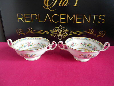 "2 x Foley Ming Rose Large Soups Coup Bowls 5"" Wide Bowl"