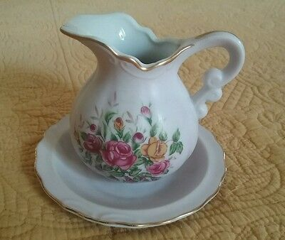 Lefton China Hand Painted Minature Pitcher & Bowl