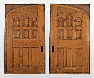 Pair of English Victorian (Gothic Revival Style) Oak Pocket Door Panels