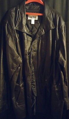 Men's 100% Leather Jacket 4Xl With Removable Lining Like New!
