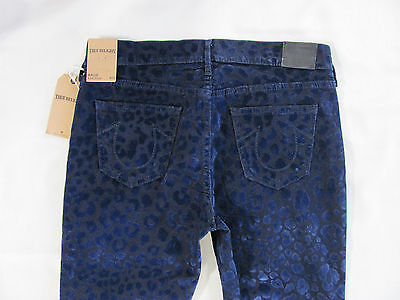 True Religion Halle Super Skinny Jeans Flock Leopard-Black/Blue - Size 29- $228