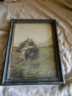 "WWII COOL Framed Photo of Sailor and Pet FOX ! 5 3/4"" x 7 1/2"" Probably Seattle"