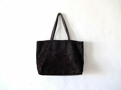 DKNY Eggplant Leather and Ponyhair Large Tote Bag Purse