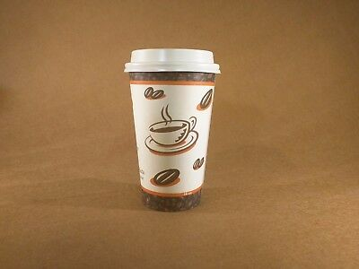 16 oz - 200 PRINTED Paper Disposable Coffee Cup  with 200 Cappuccino Lids