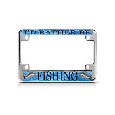 I/'D RATHER BE SURFING License Plate Frame Stainless Metal Tag Holder