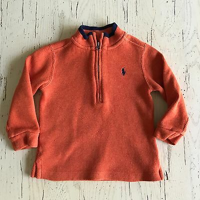 Boy's RALPH LAUREN Orange & Navy L/S Half Zip Top Sweater Size 24 Months
