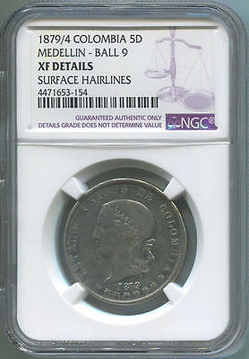 1879/4 Colombia 5 Decimos Silver. Ball Tailed 9. NGC XF Details.