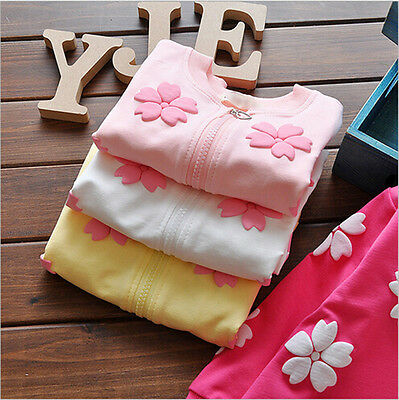 Pop Baby Girls Coats Floral Cotton Girls Cardigan Kids Outerwear Clothes 3C